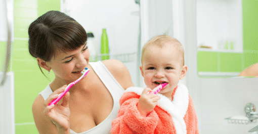 toddler tooth brushing